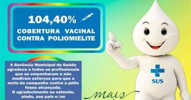 Novo Horizonte do Sul atinge mais de 100% da meta de vacinação contra Poliomielite