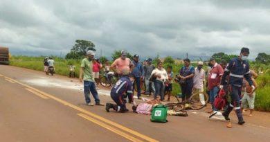 Ciclista é atropelado por caminhão em Dourados e sofre traumatismo craniano