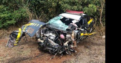 Após acidente, policial que dirigia viatura atingida por caminhão na BR-163 recebe alta